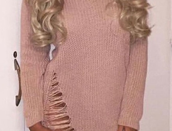 Nadine Pinky Nude Distressed Choker Knitted Dress Top