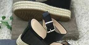 Sia Black Studded Platform Wedges