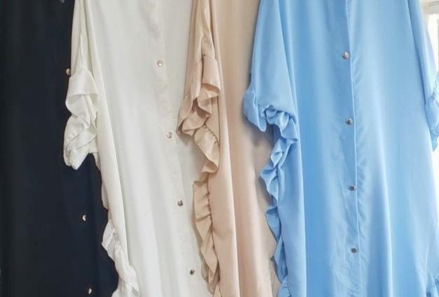 Candice Frill Hem Batwing Shirt Midi Dress