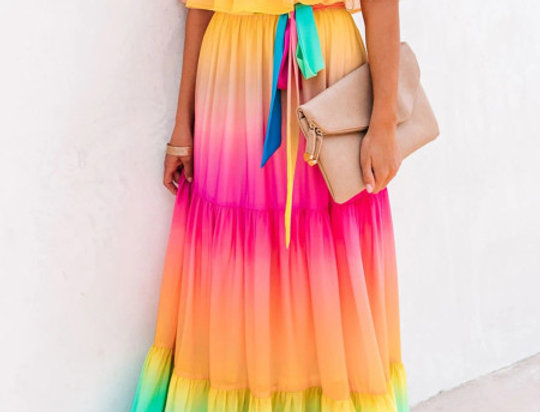 Maggie Rainbow Ombre Bardot Belted Maxi Dress