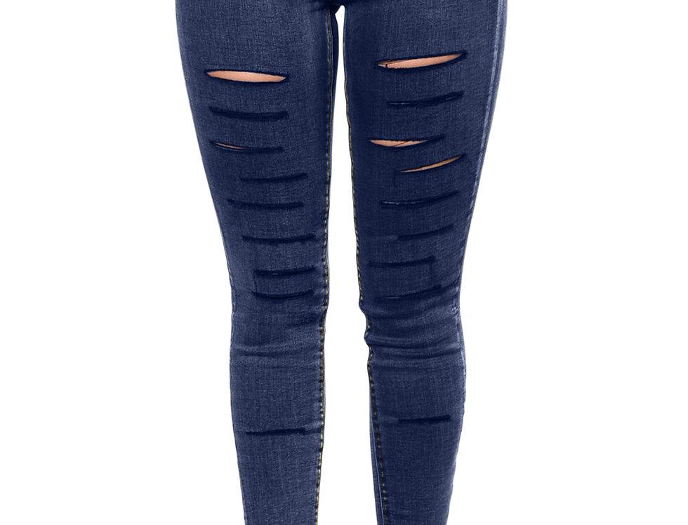 Dark Ripped Razor Jeans