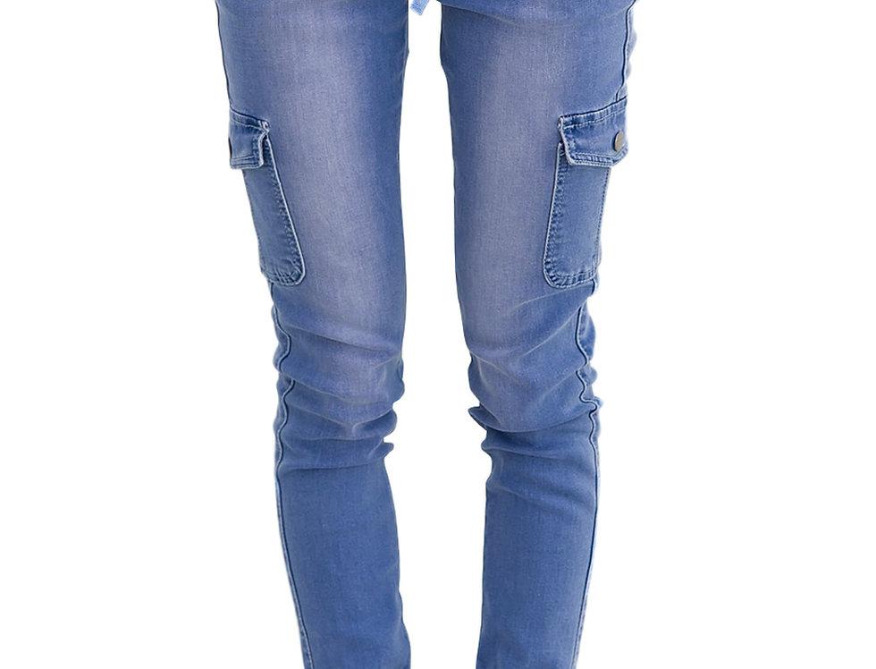 Drawstring Pocket Stretchy Ankle Denim Jeans