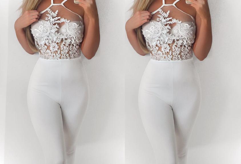 Tabitha White Lace Mesh Insert Jumpsuit