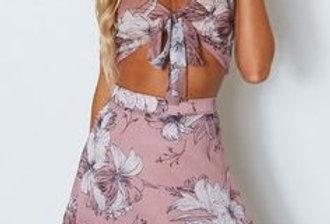 Violet Floral Crop Top Skirt  Set