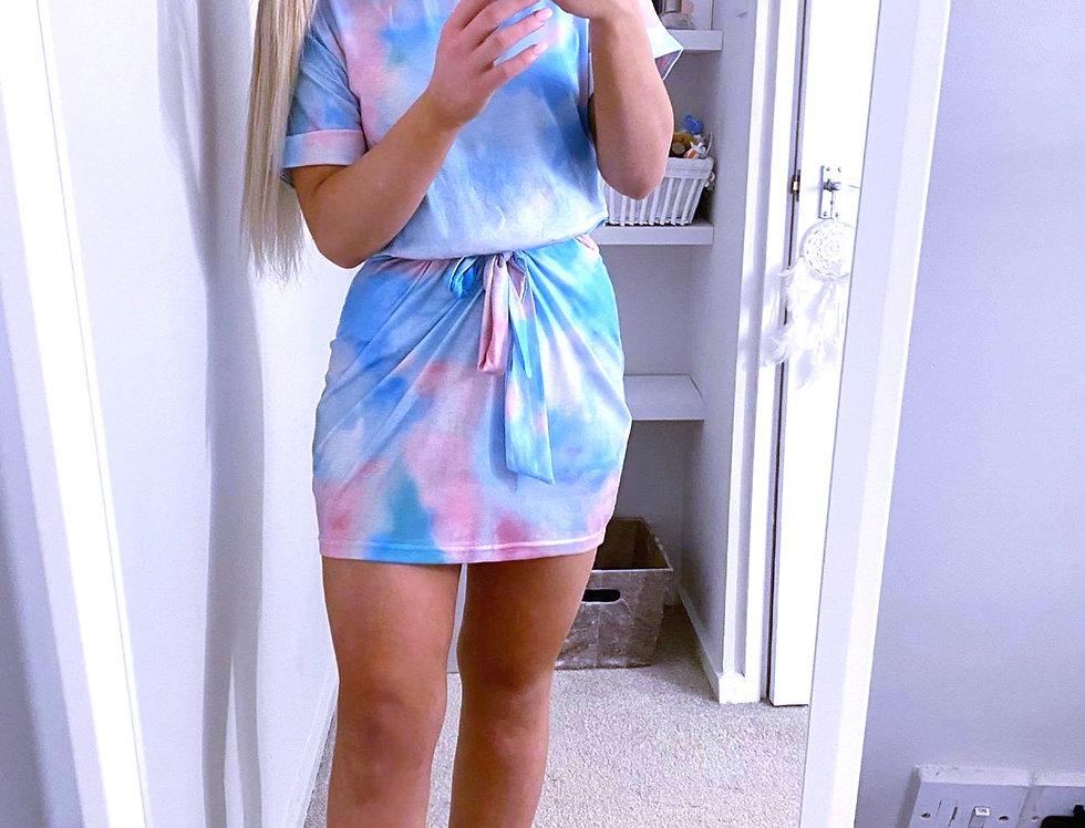 Monica Tie Dye Belted Bodycon Dress