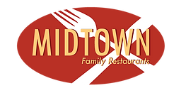 The Midtown Family Restaurants logo, featuring the name set over a red oval with a fork and knife