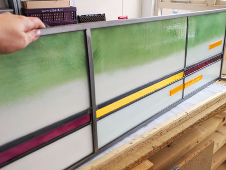 Making stained glass panels for a bay window