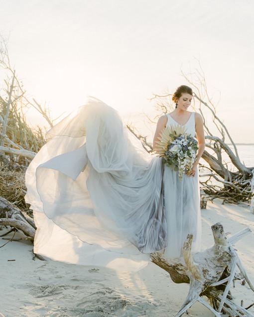Folly Beach Driftwood Bridal Portraits