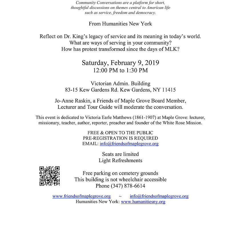 Martin Luther King, Jr. Day Of Service FREE Community Conversation