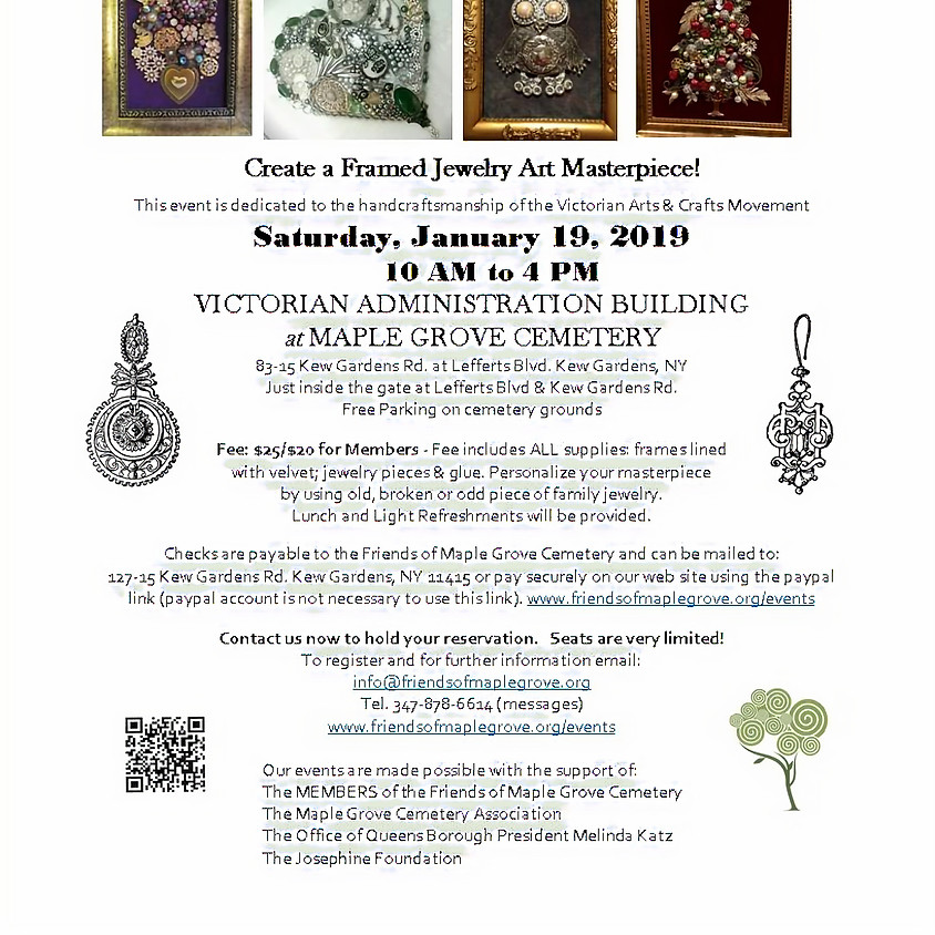 Holiday Framed Jewelry Art Workshop