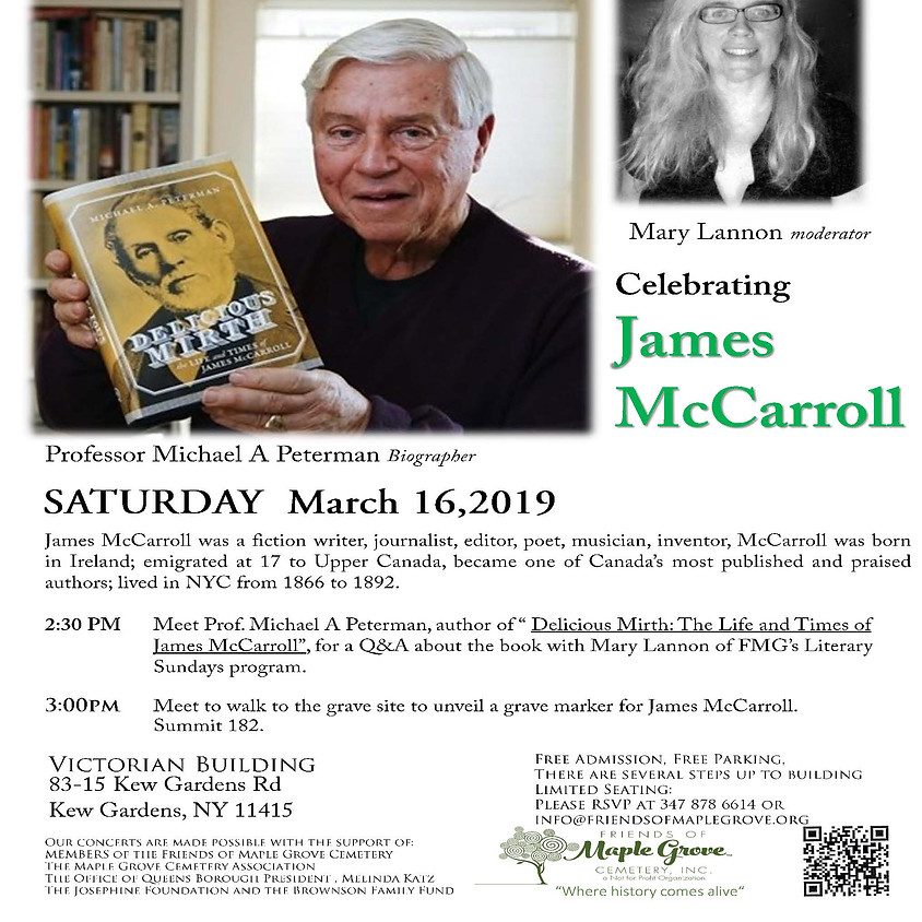 Meet the Author and Gravestone Unveiling for James McCarroll