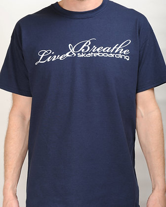 Navy T shirt with Live and Breathe Script