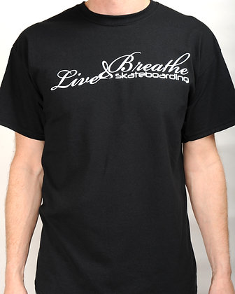 Black T shirt with Live and Breathe Script