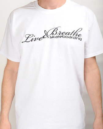 White T shirt with Live and Breathe Script