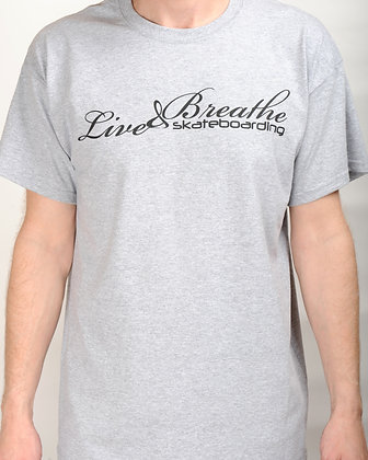 Sports Grey T shirt with Live and Breathe Script