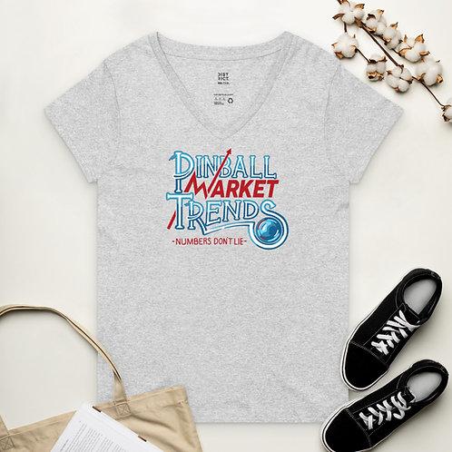 Pinball Market Trends Womens Recycled V-Neck Shirt
