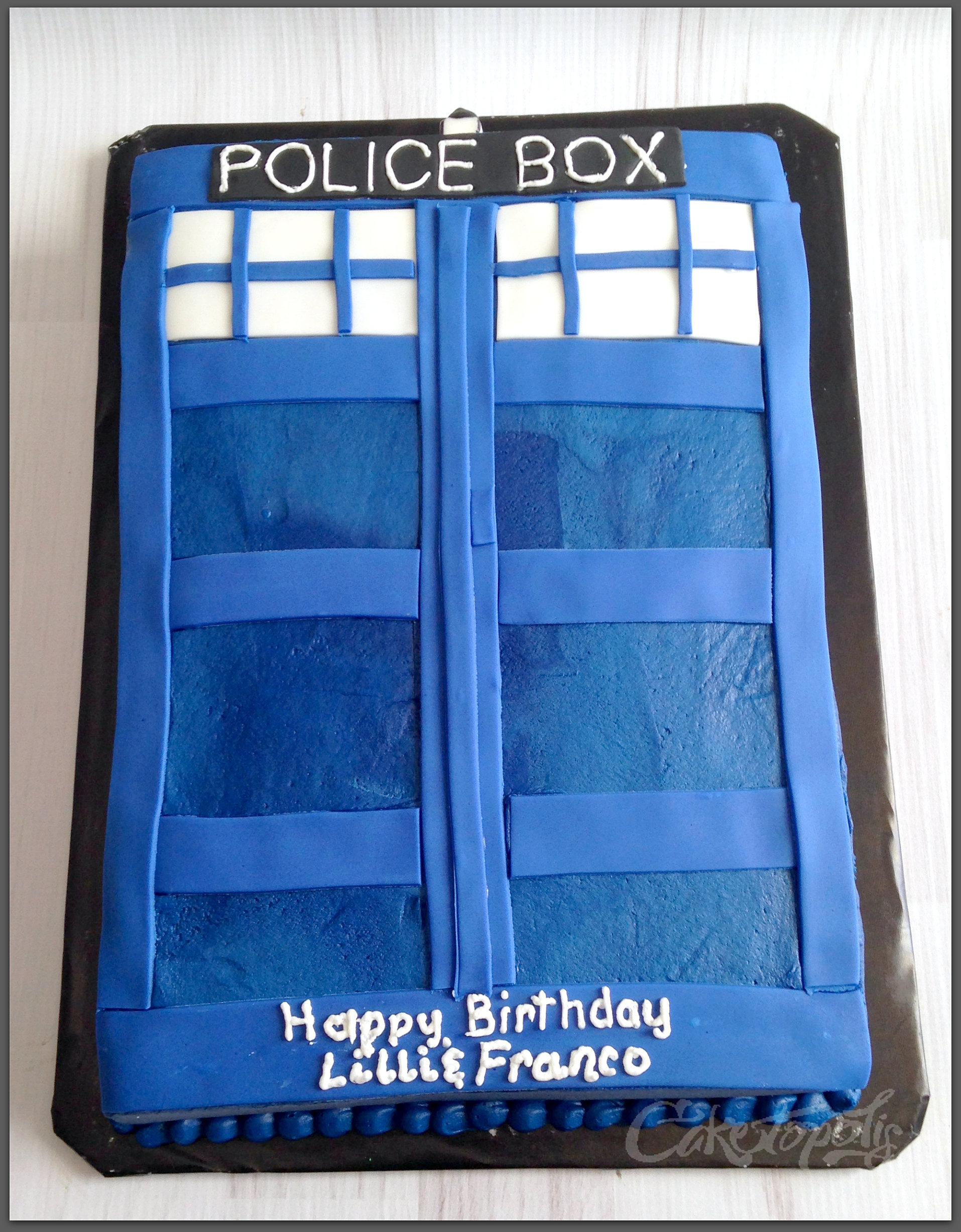 Caketopolis custom cakes dr who tardis sheet cake for Tardis template for cake