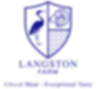 Langston Farm Logo Blue text and tagline