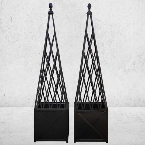 Square Metal Planter Box With Matching Obelisk Trellis