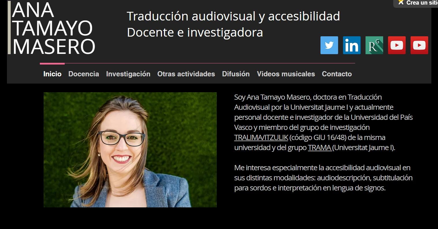 Ana Tamayo Masero. Traducción audiovisual y accesibilidad | Difusión