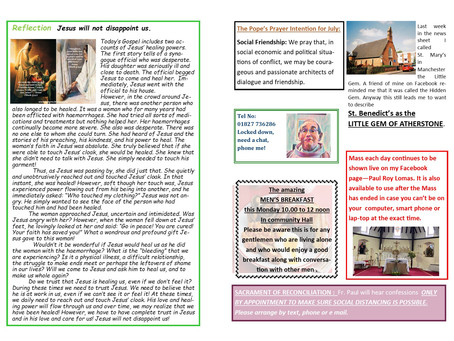 Thirteenth Sunday of Ordinary Time Year B 2021 26/27th June inside pages