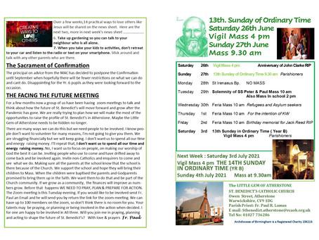 Thirteenth Sunday of Ordinary Time Year B 2021 26/27th June