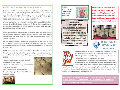THE 17TH SUNDAY OF ORDINARY TIME YR B 2021 NEWS SHEET INSIDE PAGES