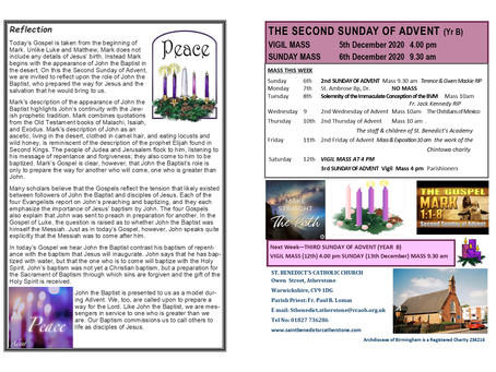 THE SECOND SUNDAY OF ADVENT 2020 YEAR B