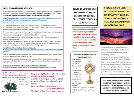 THE NEWS SHEET FOR THE FIRST SUNDAY OF ADVENT 2020 (YEAR B)