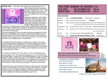 THE NEWSHEET FOR THE FIRST SUNDAY OF ADVENT 2020 (YEAR B)
