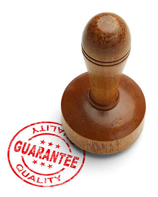 Red quality guarantee stamp with wooden
