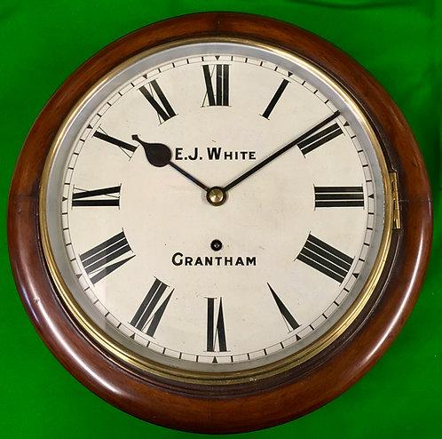 "Antique school clock signed 'E.J White Grantham"""