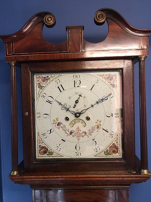 Antique Mahogany Grandfather Longcase Clock made by Hugh Hughes C1800