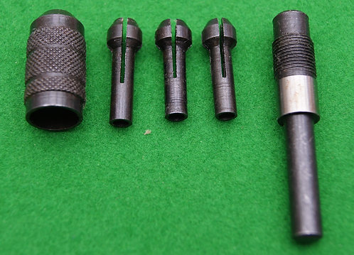 Pin chuck set with 3 collets