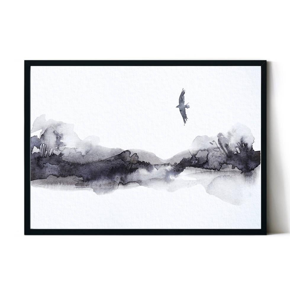 art poster mountain bird design