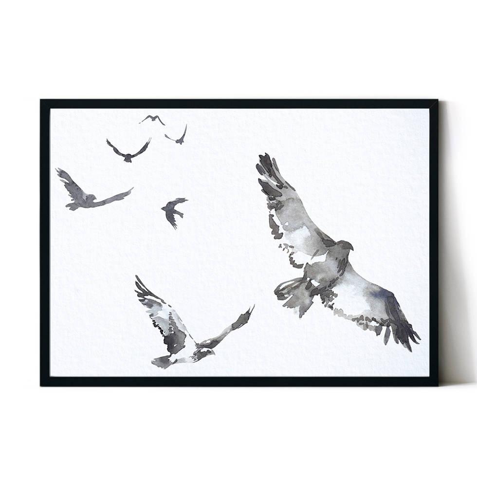 art poster mountain birds design