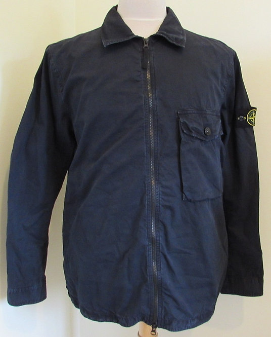7215114WN Stone Island Old Effect Overshirt in Navy (V0120)