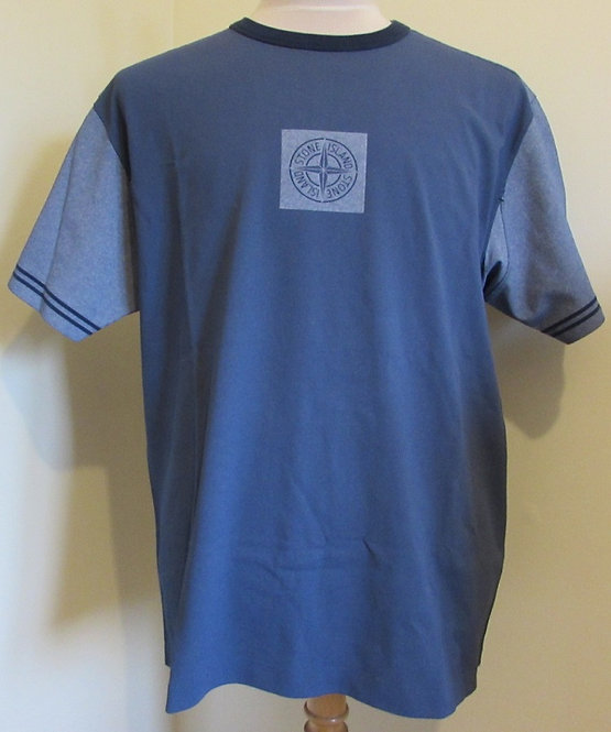 701523335 Stone Island 'Tela Plated' Round Neck Tee Shirt in Blue (V0028)
