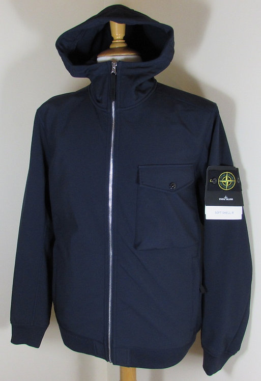 6715Q0622 Stone Island 'Soft Shell-R' Hooded Jacket in Navy (V0020). Fleece line