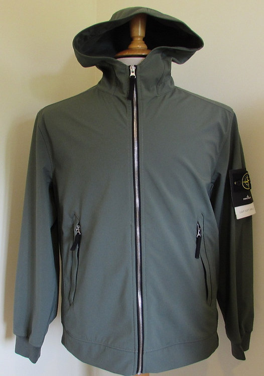 721540927 Stone Island 'Light Soft Shell-R' Hooded Jacket in Olive (V0058)