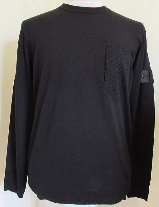 7419506A4Stone Island 'Shadow Project' Round Neck Knit in Black (V0029)