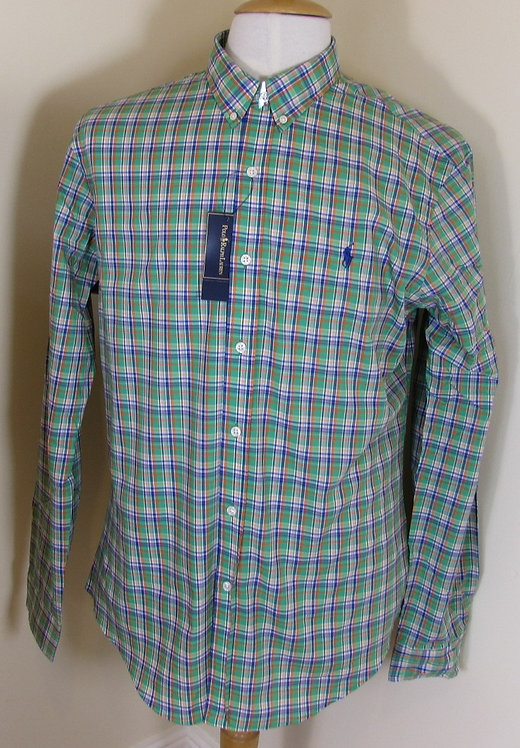 Ralph Lauren Long Sleeved Checked Shirt in Green and Blue (CR-17)