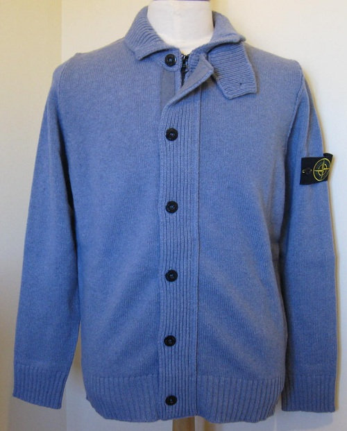 571550LA3 Stone Island Full Zip with Button Knit in Light Blue (V0046)