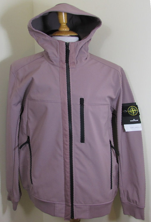 6915Q0522 Stone Island 'Soft Shell-R' Hooded Jacket in Pastel Pink (V0086)