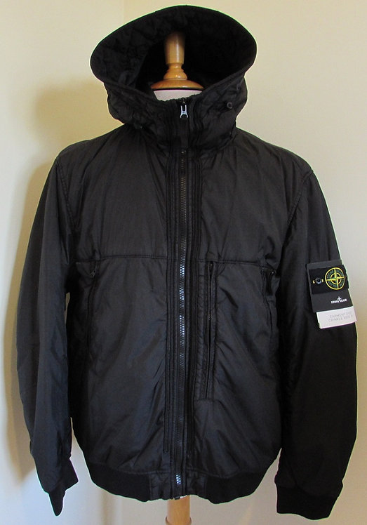 711544523 Stone Island 'Garment Dyed Crinkle Reps NY' Hooded Jacket in Black