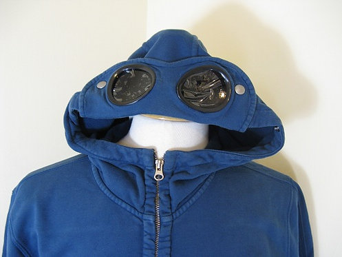 CPUT02953 C.P. Company Goggle Hood Sweatshirt in Blue (849)