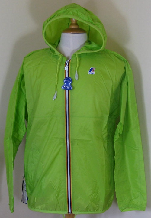 K-WAY 'CLAUDE' Hooded Rain Jacket in ACID GREEN