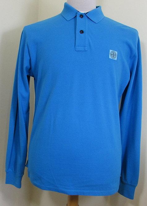 63152CC15 Stone Island Long Sleeved Polo Shirt in Blue (V0042)