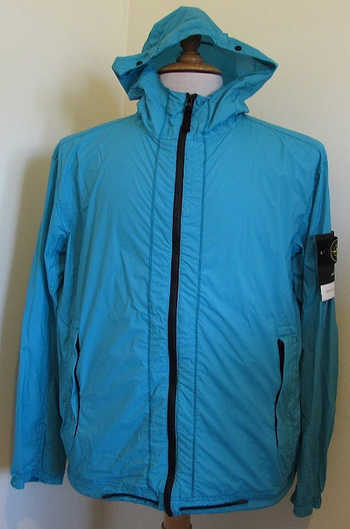 721543831 Stone Island 'Skin Touch Nylon-TC Packable' Hooded Jacket in Turquoise