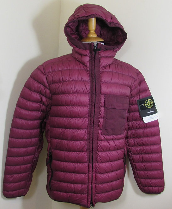 691540524 Stone Island 'Garment Dyed Micro Yarn Down' Hooded Jacket in Garnet